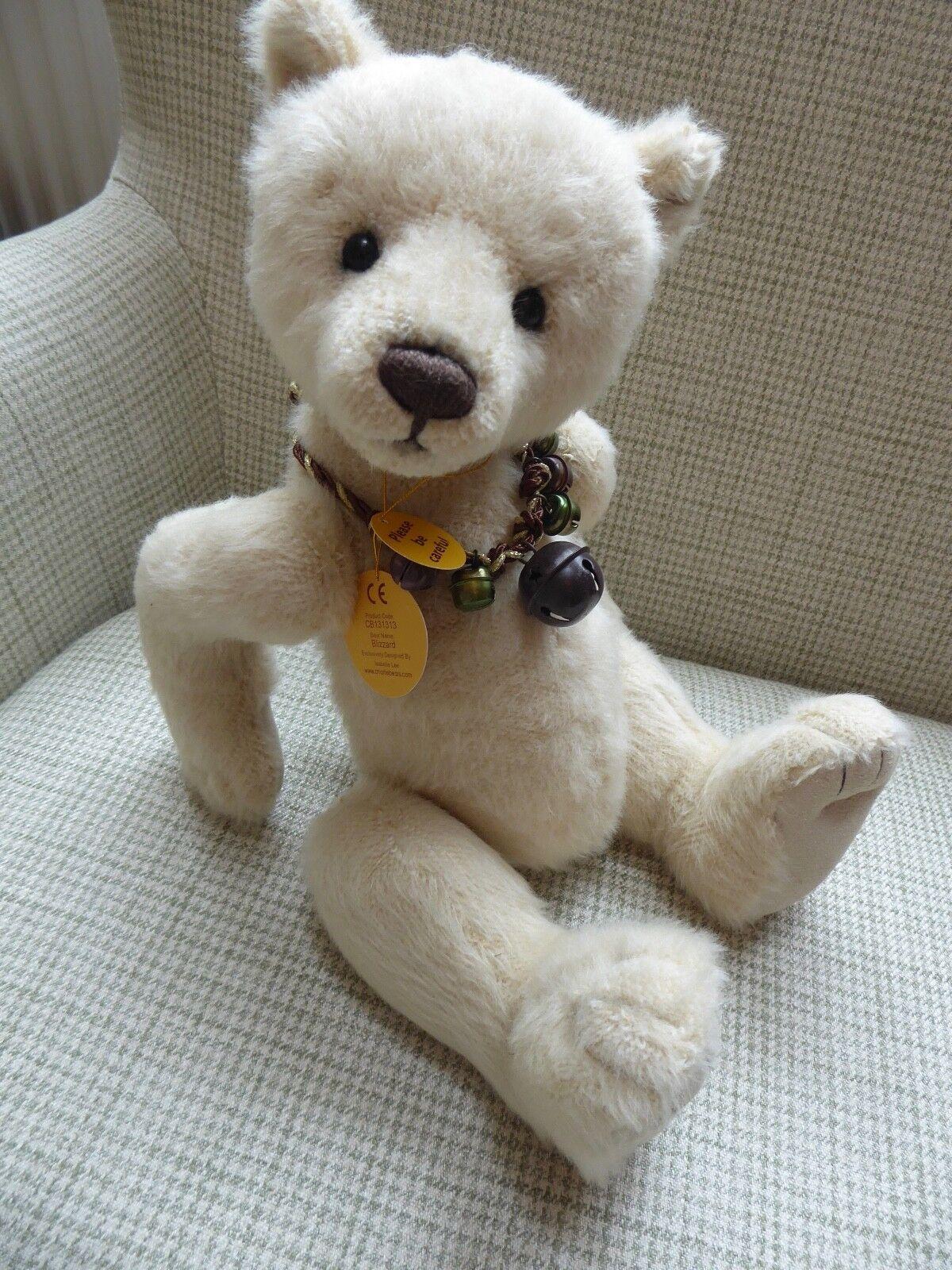 CHARLIE BEAR BLIZZARD, WINTER Weiß POLAR BEAR, 15  38CMS, WITH TAGS, IMMAC.