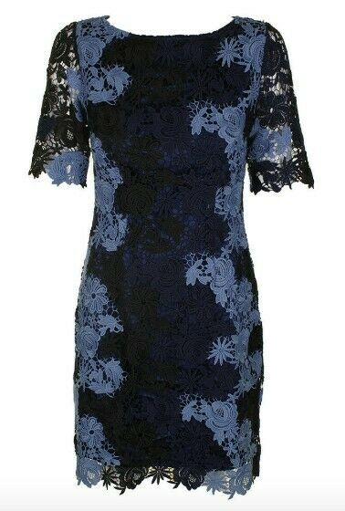 ASL Tahari Two Tone bluee Lace Dress BNWT Size UK10 and Available RRP
