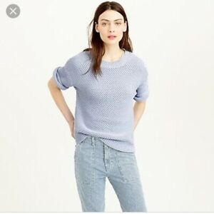 J-Crew-Baby-Blue-Short-Sleeve-Open-Stitch-Knit-Chunky-Pullover-Sweater-Size-S