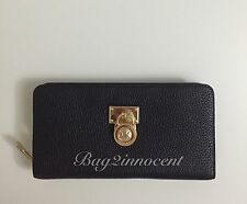 Auth Michael Kors Hamilton Travel Pebbled Leather Large Zip Around Wallet Black