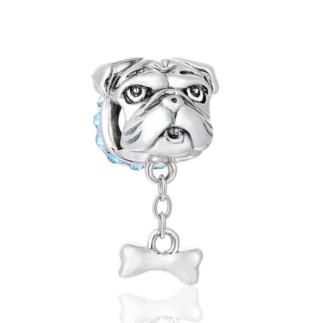 English Bulldog Charm Bead for Bracelet, I Love My Dog, Delicate Jewellery