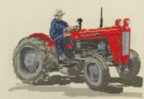 Massey Ferguson 35x Tractor counted cross stitch kit or chart 14s aida