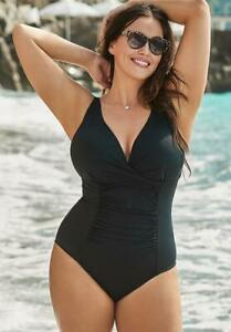 104-NWT-Black-Twist-Ruched-Control-Swimsuit-Sz-22-Swimsuits-for-all-Plus-1569
