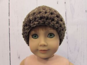 Cute-Turquoise-amp-Brown-Crocheted-Hat-fits-American-Girl-Dolls-18-034-Dolls