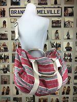 Brandy Melville Boho Red Gray Large Travel Duffle Bag W/ Inside Mini Bag