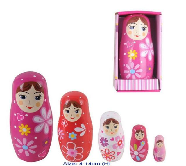 NEW WOODEN Pink Russian Bubushka Nesting Dolls 5 pce 4cm - 14cm