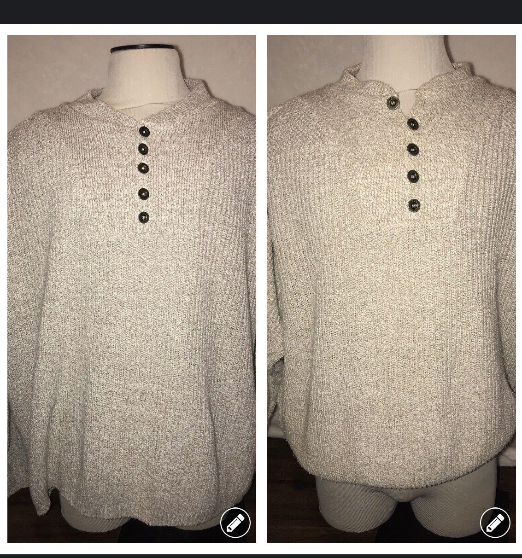 Eddie Bauer  Herren Fisherman Sweater Braun & grau Lot Cable Knit Cotton Größe Large