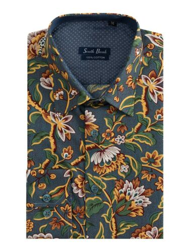 Camicie Uomo Slim Fit LIBERTY FLOREALE COTONE STAMPATO Vintage a Maniche Lunghe Blu Navy