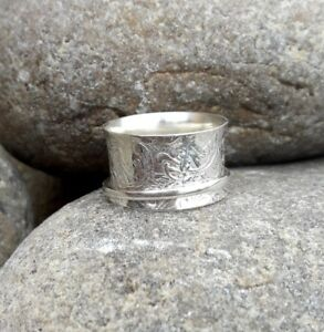 Solid-925-Sterling-Silver-Meditation-Ring-Statement-Ring-Spinner-Ring-Size-sr416
