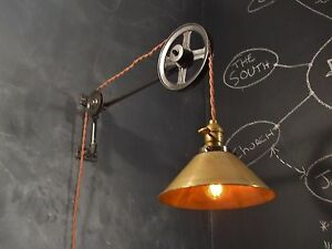 pretty nice 53bcf 7ffd1 Details about Vintage Industrial Pulley Light - Wall Sconce Lamp Steampunk  Drafting Pool Table