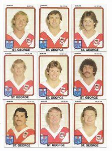 1981-Scanlens-St-George-Dragons-Team-Set-14-Cards-Check-List-Excellent