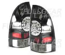 BLACK w/ CLEAR LENS LED TAIL LIGHT PAIR SET FOR TOYOTA TACOMA PICK-UP 2005-2008