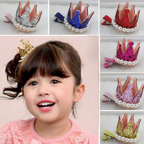 Funny Hair Clips Pearl Crown Hairpins Lovely Hair Accessories for Kids Girls VGC