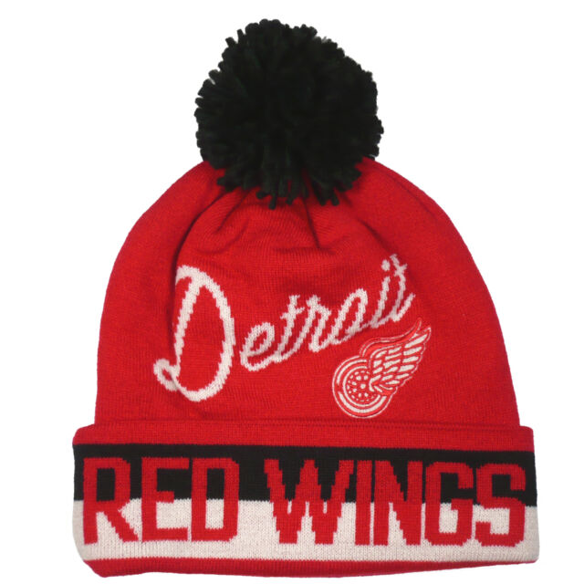 Detroit Red Wings CCM NHL Vintage Hockey Cuffed Pom Knit Winter Beanie Hat e74dba7e8