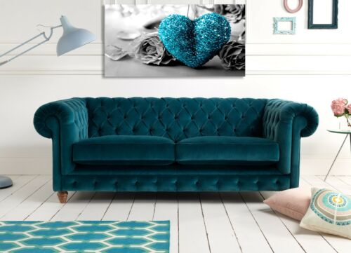 Bleu Sarcelle Turquoise Amour Coeur Toile Imprimer Wall Art Photo 18 x 32 in environ 81.28 cm