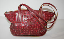 "Red Leather Shoulder Bag Maxx New York Cut Out Design 15"" x 4.5"" x 10.5""H"