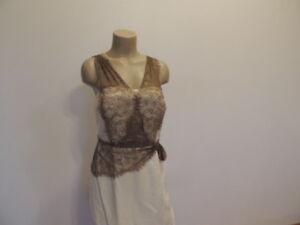 Antonio Melani Size 6 Ivory Brown Lace Sleeveless Dress Ebay