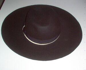 Ladies Womans floppy black wool felt broad brimmed hat one size fits ... f382150f159