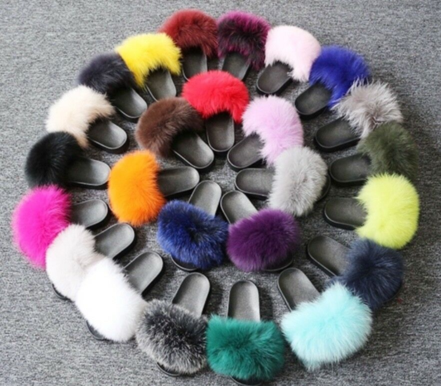 Fox and Mink Fur Slides Größe 7-12 variety of colors, high quality, durable
