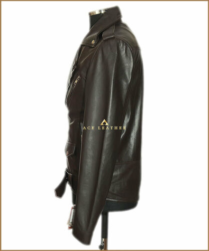 Brando cuir Veste en en Slim d'agneau Brown cuir motard véritable Fit pour qX4rq
