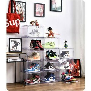 Magnetic-Side-Open-Storage-Shoe-Box-Transparent-Stackable-Sneaker-Container-USA