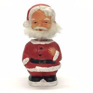 Vintage-1980s-Santa-Claus-Plaster-7-5-034-Bobblehead-Nodder-Rabbit-Fur-Beard