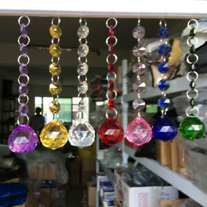 7Pc Rainbow Glass Crystal Ball Suncatcher Chain Prism Pendant Hanging Ornament