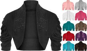 New-Womens-Cotton-Ruched-Sleeve-Beaded-Sequins-Bolero-Shrug-Ladies-Cardigan-Top