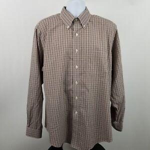 Brooks-Brothers-1818-Slim-Fit-Non-Iron-Brown-Check-L-S-Dress-Button-Shirt-Sz-XL