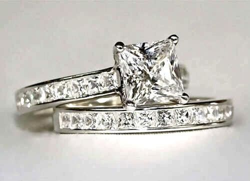 Certified 2.50Ct White Princess Diamond Engagement 14K White gold BridalSet Ring