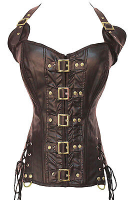 Coffee Buckle-up Steampunk Corset LC5342 gothic clothing women bustier plus size