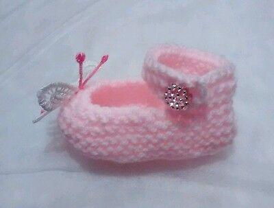 Hand Knitted Mariposa Botines Zapatos De Bebé Rosa Nuevo 0 - 3 meses