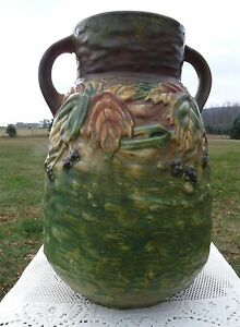 "Roseville Pottery années 1930 - 12"" BlackBerry Double Handled vase 578-12 unmarked-afficher le titre d`origine nZEkPWba-09162824-381177799"