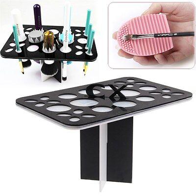Acrylic Makeup Brushes Dryer Holder Organizer + Brushes Cleaning Glove Egg Set