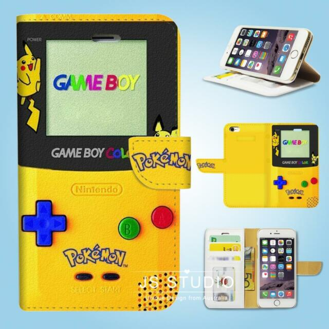 iPhone 6 6S Plus 5 5S 5C 4 4S Flip Wallet Case Cover Pokemon Gameboy W082
