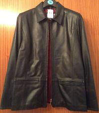 Women's Black 100% Genuine Leather Jacket Size 14 BNWT