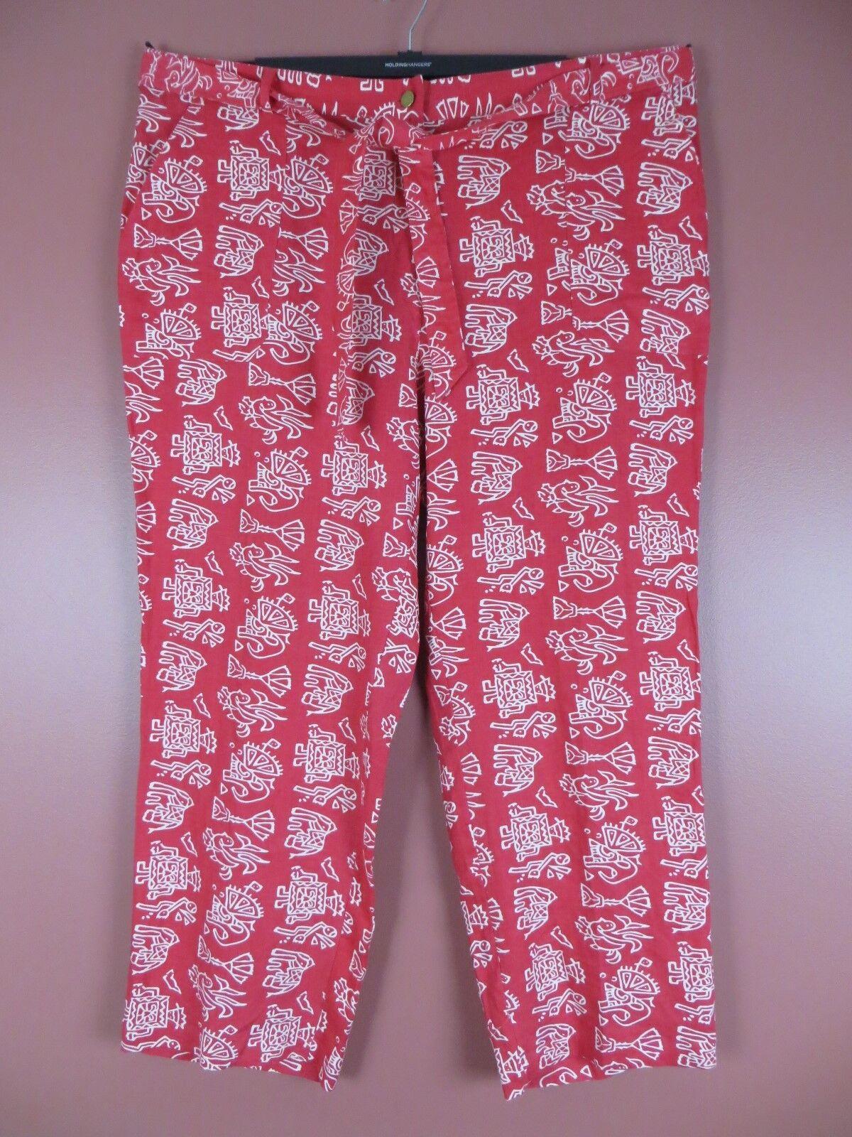 PNS1111- UNITS Womens Linen Casual Wide Leg Pants w  Waist Belt Red White Geo 3X
