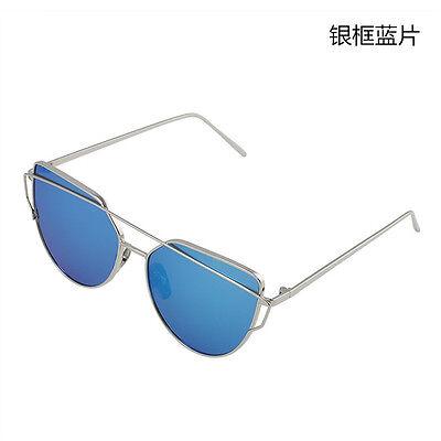 Mirrored Metal Frame Women Flat Lens Glasses Oversized Cat Eye Sunglasses New HS