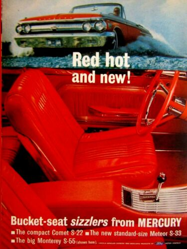 "1962 Mercury Comet Monterey S 55 Meteor S 33 Red Hot Original Print Ad-8.5 x 11/"""
