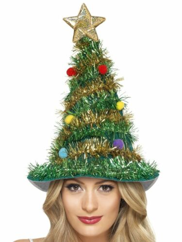 Smiffy/'s Christmas Tree Hat Star Tinsel Festive X-Mas Holiday Costume 41067