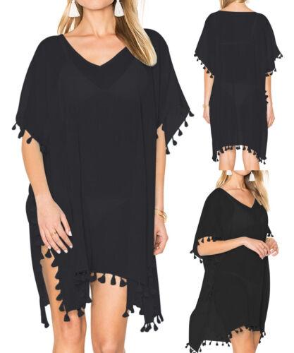 UK Women Black Beach Dress Cover Up Kaftan Sarong Summer Wear Swimwear Ladies