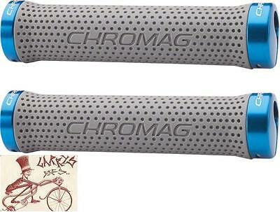 Chromag Basis Lock Grips 142 mm Gris//Bleu