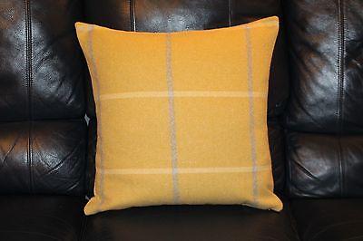 Cushion cover. Handmade. Check Plaid Highland wool effect yellow mustard grey