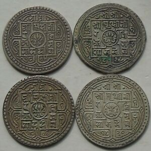 4 x Nepal Silver Mohar of Prithvi Bir Bikram KM#651 C1881-1911 Nice Grades, b)
