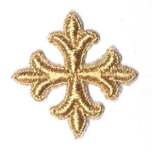 Vintage-Frances-Cruz-Fleury-Bordado-1-034-para-Coser-Oro-P-Emblema-Parche-12-Pieza