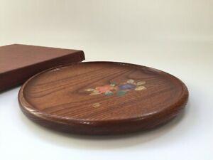 Japanese-Wooden-Tray-Obon-Vtg-Plate-Signed-Sencha-Round-Makie-Flower-T106