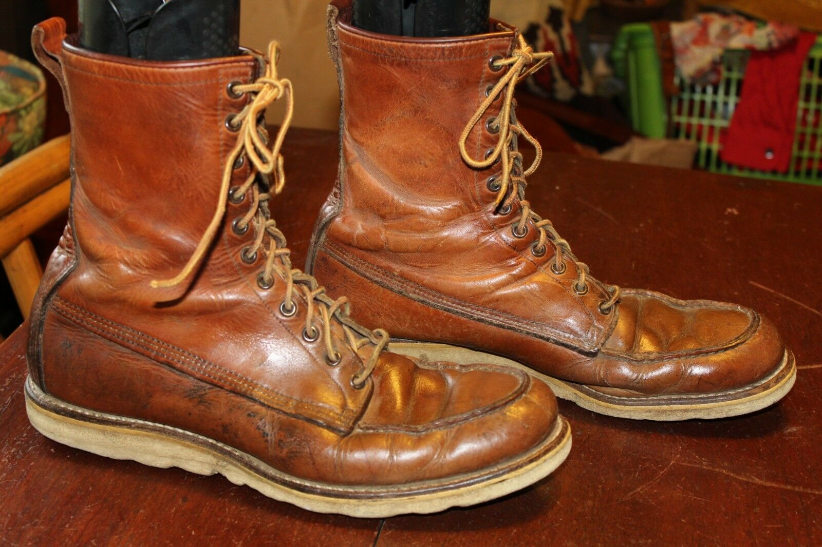 VINTAGE 60s ROSSO WING IRISH SETTER CREPE BOOTS SOLE WORK BOOTS CREPE 13 1a0d3a