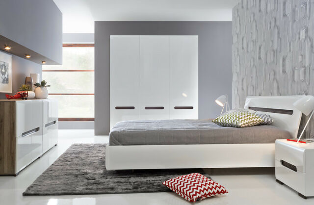 Mirrored Ossotto High Gloss Black Bedroom Furniture Set Wardrobe Chest Bedside For Sale Ebay