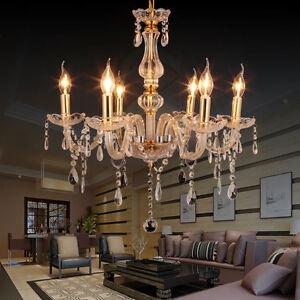 6-Branches-Feux-pampilles-Lustre-Verre-Cristal-Plafonnier-Lampe-Luminaire
