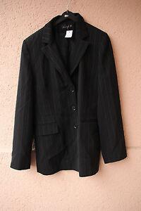 Nadelstreifen-Damen-Blazer-schwarz-von-Miss-H-Gr-38